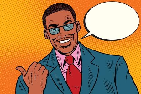 Illustration pour Positive African businessman showing thumb direction, pop art retro illustration - image libre de droit