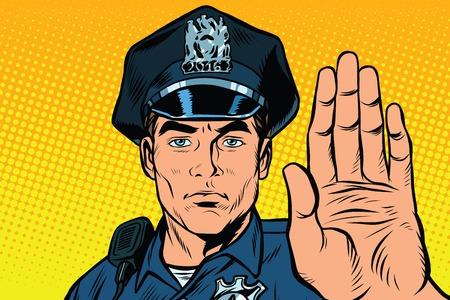 Illustration pour Retro police officer stop gesture, pop art retro illustration. - image libre de droit
