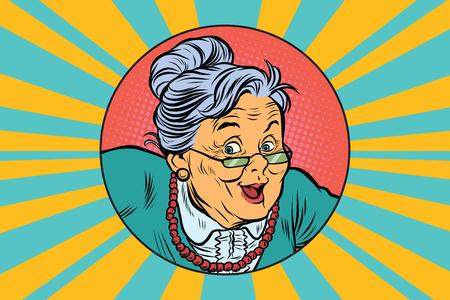 Foto de joyful intelligent grandmother. Pop art retro vector illustration - Imagen libre de derechos