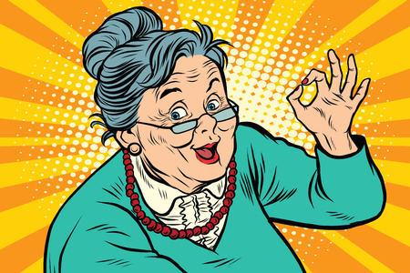 Illustration pour Grandma okay gesture, the elderly - image libre de droit