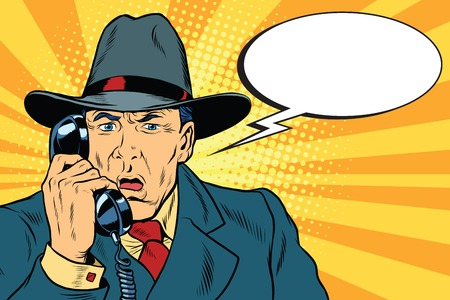 Surprised retro businessman talking on the phone