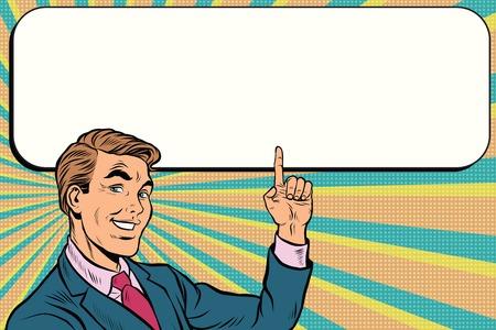 Ilustración de Businessman points up to copy space background, pop art retro vector. Beautiful promo man - Imagen libre de derechos