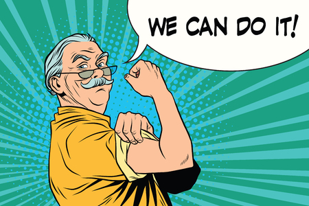 Illustration for we can do it old man - Royalty Free Image