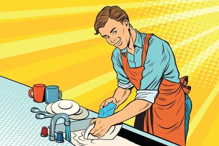 Illustration pour Vintage worker washes dishes - image libre de droit