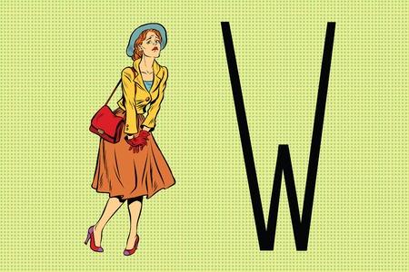 Illustration pour Retro woman wants to pee in the toilet. Pop art retro vector illustration - image libre de droit
