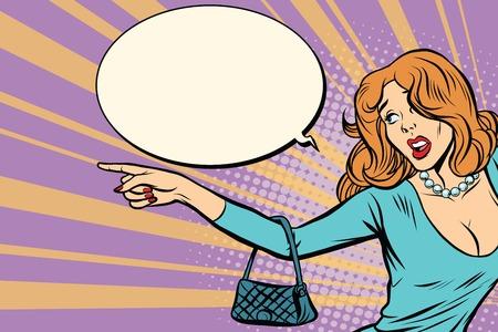 Illustration pour Sexy woman shows to the side - image libre de droit
