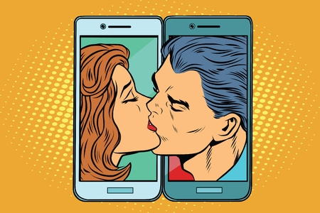 Photo for Retro man and woman kissing through a smartphone - Royalty Free Image