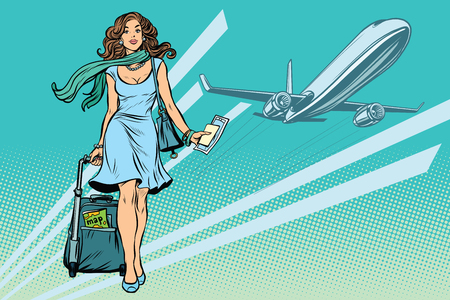 Illustration pour Beautiful young woman with Luggage at the airport - image libre de droit