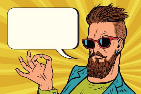 Ilustración de OK okay gesture hipster. Pop art retro vector illustration - Imagen libre de derechos