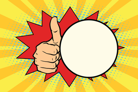 Photo pour Thumb up gesture and a comic bubble. Pop art retro vector illustration - image libre de droit
