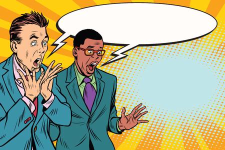 Illustration pour two businessmen shocked, multi-ethnic group. Pop art retro vector illustration - image libre de droit