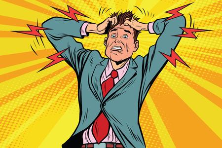 Illustration pour businessman panic head hand, illness and medicine. Pop art retro vector illustration - image libre de droit