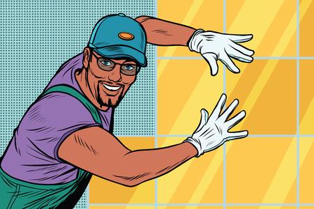 Ilustración de worker Builder puts tile - Imagen libre de derechos