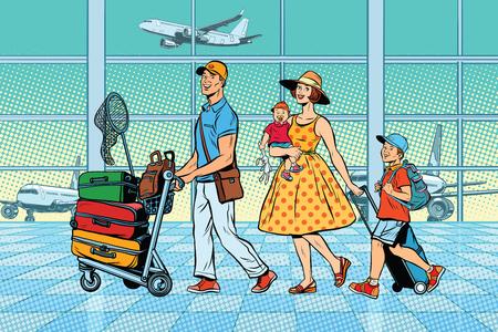 Ilustración de Family travelers at the airport - Imagen libre de derechos