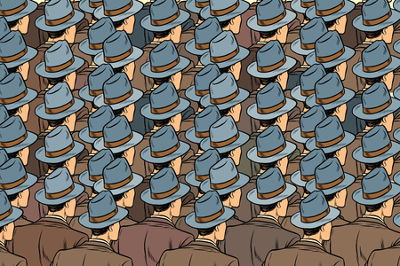 background crowd of the same men, stand back. Pop art retro vector illustration