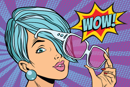 Ilustración de sunglasses pop art woman wow reaction. retro vector illustration - Imagen libre de derechos
