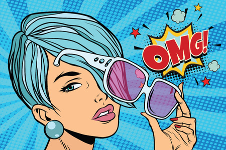 beautiful young woman in sunglasses, omg reaction. Pop art retro vector illustration