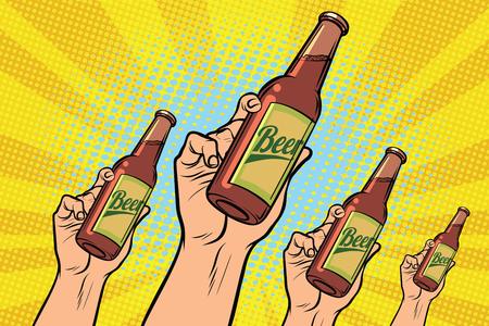 Illustration pour many hands with a bottle of beer - image libre de droit