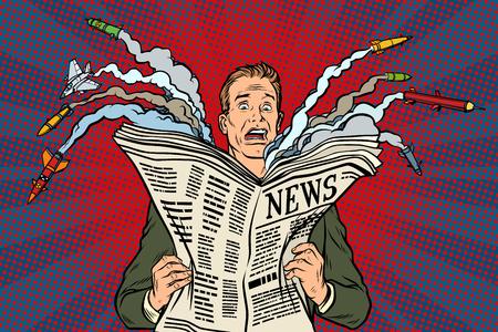 Illustration pour newspaper bad news about nuclear war, the man shocked - image libre de droit