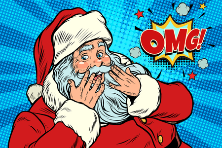Illustration for OMG surprise Santa Claus reaction - Royalty Free Image