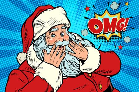 Illustration pour OMG surprise Santa Claus reaction - image libre de droit