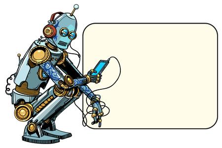 Illustration pour Robot sits with the phone - image libre de droit