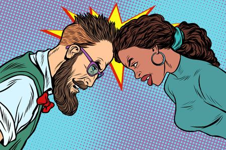 Illustration pour man vs woman, confrontation and competition - image libre de droit