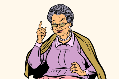 Illustration for Elderly woman pointing finger up - Royalty Free Image