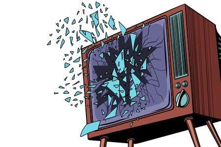 Illustration pour TV explodes, broken screen - image libre de droit