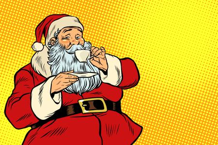Illustration pour Santa Claus drinking tea or coffee - image libre de droit