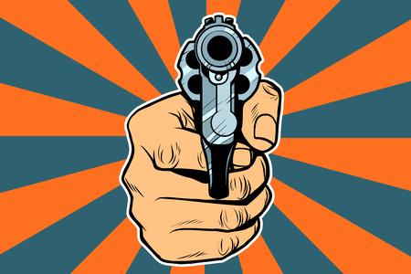 Illustration pour revolver in hand. Pop art retro vector illustration - image libre de droit