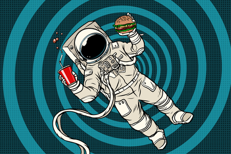 Illustration pour Astronaut in zero gravity with fast food - image libre de droit