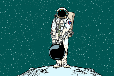Illustration pour Astronaut with cargo weights. Pop art retro vector illustration. - image libre de droit