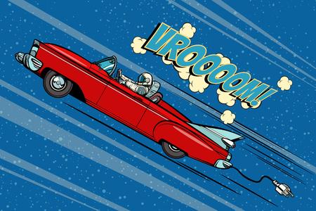 Ilustración de Astronaut sitting behind the wheel of a car. Pop art retro vector illustration comic cartoon hand drawn vector - Imagen libre de derechos