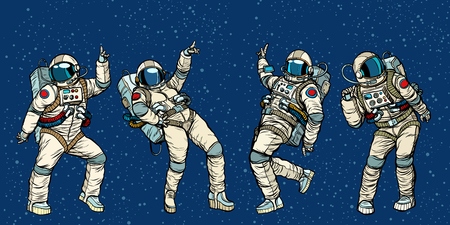 Ilustración de Disco party astronauts dancing men and women. Pop art retro comic book vector cartoon hand drawn illustration - Imagen libre de derechos