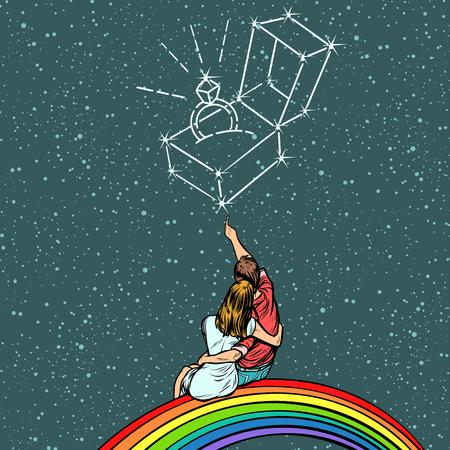 Illustration pour Couple man and woman dreaming of a wedding. Pop art retro comics cartoon vector illustration kitsch drawing - image libre de droit