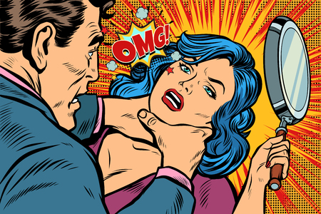 Woman fights off the strangler. Pop art retro vector illustration kitsch drawing.