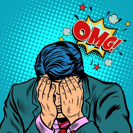 Illustration pour OMG shame businessman. Pop art retro vector illustration cartoon comics kitsch drawing - image libre de droit