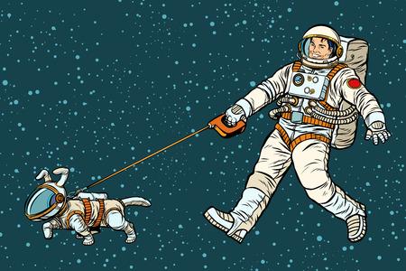 Ilustración de astronaut walking dog in a space suit. Pop art retro vector illustration kitsch vintage drawing - Imagen libre de derechos