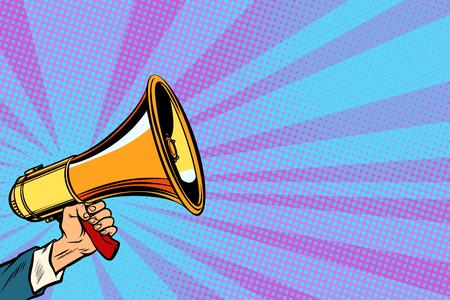 businessman hand holding a megaphone. Pop art retro vector vintage kitsch illustration drawing