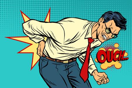 Illustration pour man back pain, medicine and health. Pop art retro vector illustration vintage kitsch drawing - image libre de droit