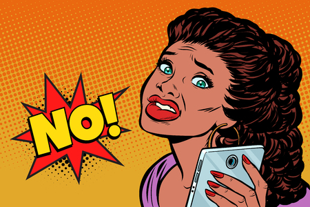phone selfie the woman is scared. African American people. Pop art retro vector illustration kitsch vintage drawing