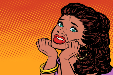 woman scared hands on her face. African American people. Pop art retro vector illustration kitsch vintage drawing
