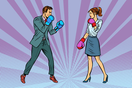 Woman Boxing fights with man. Pop art retro vector illustration kitsch vintage
