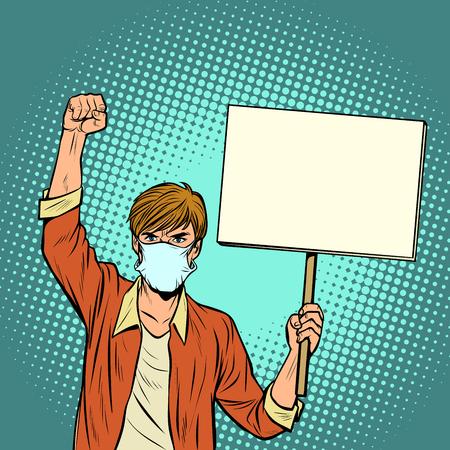 Illustration pour A man in a medical mask protests. Pop art retro vector illustration vintage kitsch drawing - image libre de droit
