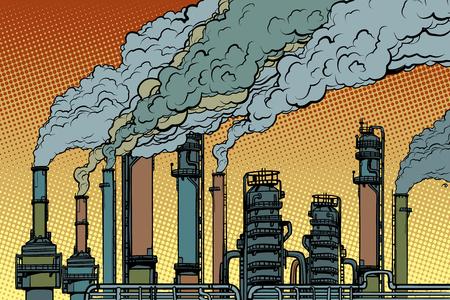 Ilustración de chemical pipe factory smoke. Ecology and industry. Pop art retro vector illustration vintage kitsch drawing - Imagen libre de derechos