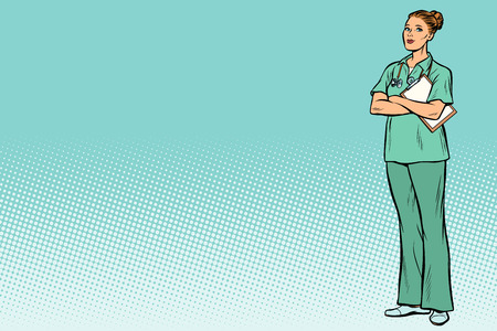 Caucasian nurse. Medicine and health. Pop art retro vector illustration vintage kitsch