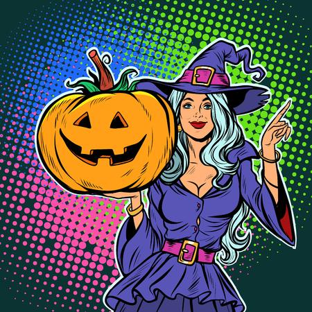 Illustration pour witch with pumpkin. Halloween Party. Pop art retro vector illustration vintage kitsch - image libre de droit