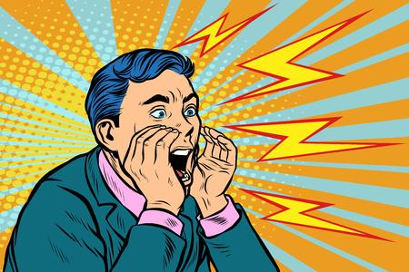 Illustration pour Man screaming calling, pop art retro vector illustration kitsch vintage - image libre de droit