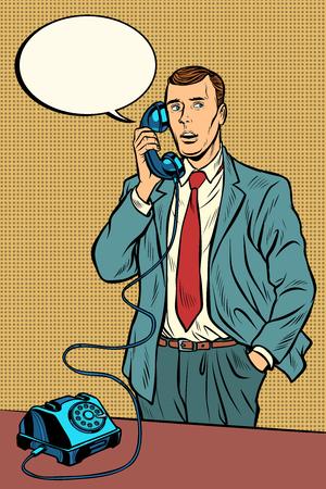 Ilustración de man talking on a retro phone. Pop art retro vector illustration vintage kitsch - Imagen libre de derechos